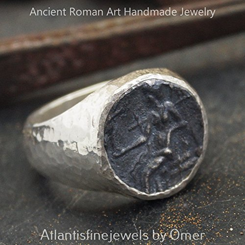 - Bold Collection By Omer Coin Men's / Unisex Ring Hammered Handmade 925 Sterling Silver