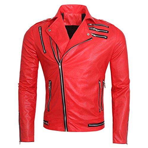 Musamk Dashing 2016 Red Motorcycle Leather Coat European And American Style Brand Michael Jackson Jacket Designer Mens Auto Leather Coat High (Michael Jackson In Red Jacket)