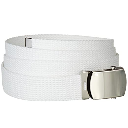 Amazon.com  White One Size Canvas Military Web Belt With Silver ... b4534019150