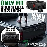 Topline Autopart Tri-Fold Hard Tonneau Cover Tool Bag 07-14 Silverado/Sierra Fleetside 5.8 Ft Bed