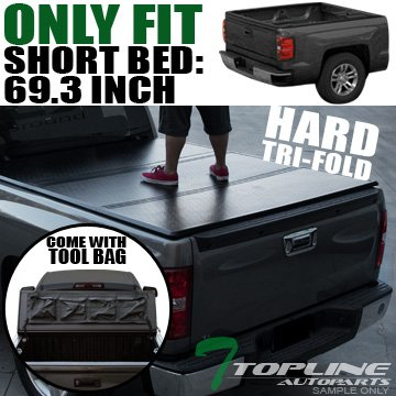 Topline Autopart Tri-Fold Hard Tonneau Cover Tool Bag 07-14 Silverado/Sierra Fleetside 5.8 Ft Bed - Aries Security Lock Box