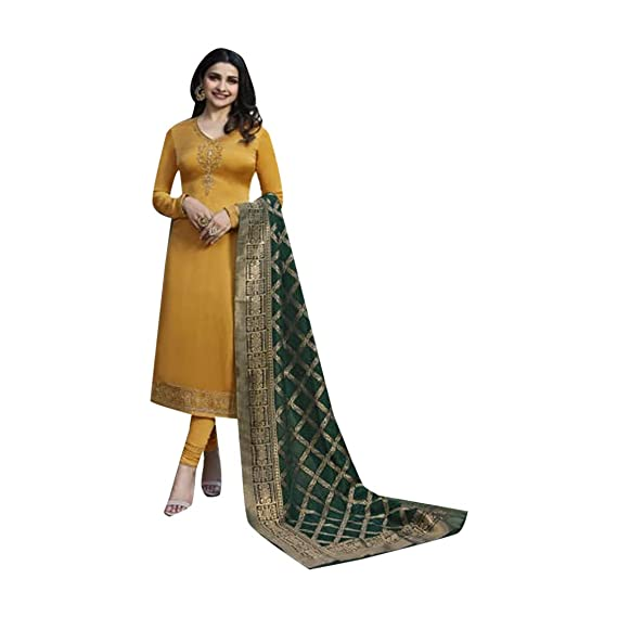 1672962ef8 Straight Salwar Kameez Glossy Suit Pure Banarasi Jacquard Dupatta 7749:  Amazon.in: Clothing & Accessories