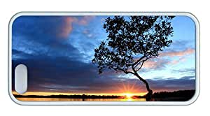 Cute iphone 5 online case Beautiful nightfall scenery at river side sunset tree sky clouds TPU White for Apple iPhone 5/5S