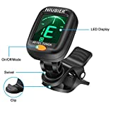 NIUBIER Clip-on Tuner for Guitar.Ukulele,Bass,Violin,Mandolin,Banjo,Large clear LCD display for Guitar Tuner,Chromatic Tuner,and Auto power off Tuner.