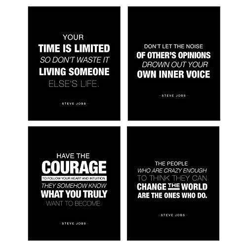 (4 Pack) Motivational Wall Art Steve Jobs Quote Inspirational Posters 8 x 10 Success Wall Art Inspired by A Famous Leader And Thinker! Great for Decoration, School, Business And Much More (Steve Jobs) -