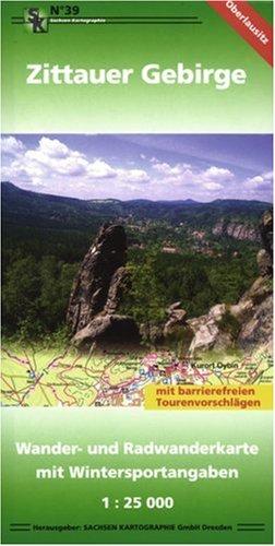 Zittauer Gebirge: Wander- und Radwanderkarte mit Wintersportangaben 1:25 000