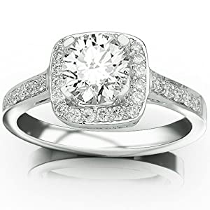 0.56 Carat 14K White Gold Classic Square Halo Single Row Pave Set Diamond Engaement Ring with a 0.25 Carat I J I2 Center