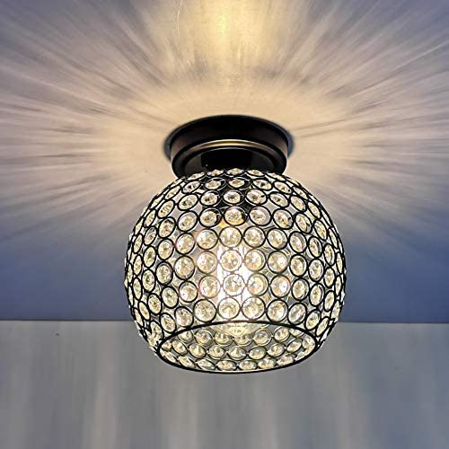 HMVPL Crystal Ceiling Light, Modern Semi Flush Mount Pendant Lighting Fixtures for Kitchen Island Dining Room Foyer Hallway Entryway Farmhouse Closet