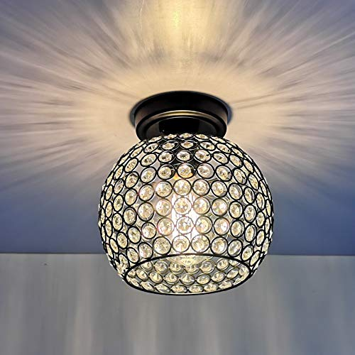 HMVPL Crystal Ceiling Light, Modern Semi Flush Mount Pendant Lighting Fixtures for Kitchen Island Dining Room Foyer Hallway Entryway Farmhouse Closet (Sparkly Light Fixture)