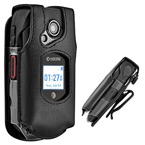 Erbium Kyocera DuraXE XE Leather Case - Phone with Belt Clip Swivel Holster E4710 Rugged Design ()