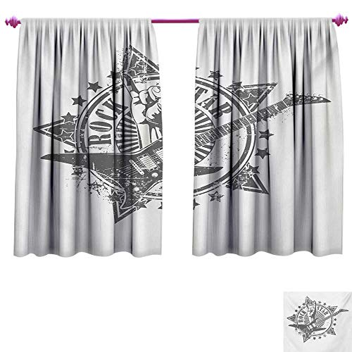 cobeDecor Guitar Blackout Draperies for Bedroom Stars with Rock Sign Monochrome Musical Instrument Design Rockstar Life Singing Room Darkening Wide Curtains W84 x L72 Pale Grey White ()