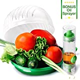 Salad Cutter Bowl by ELLTERA | 60 second Salad Maker and BONUS Oil Sprayer | Perfect Vegetable, Fruit and Lettuce Chopper Slicer - BPA Free Large Plastic Cutter and Cooking Oil Dispenser Bottle