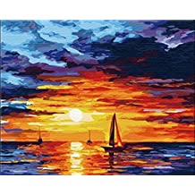 [ New Release ] Diy Oil Painting by Numbers, Paint by Number Kits - Sunset Clouds 16*20 inches - Digital Oil Painting Canvas Wall Art Artwork Landscape Paintings for Home Living Room Office Christmas Decor Decorations Gifts - Diy Paint by Numbers Diy Canvas Kit for Adults Advanced Children Seniors Junior - New Arrival