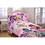 Nick Jr Little Charmers Twin Sized 4 Piece Bedding Set - Reversible Comforter and Sheet Set