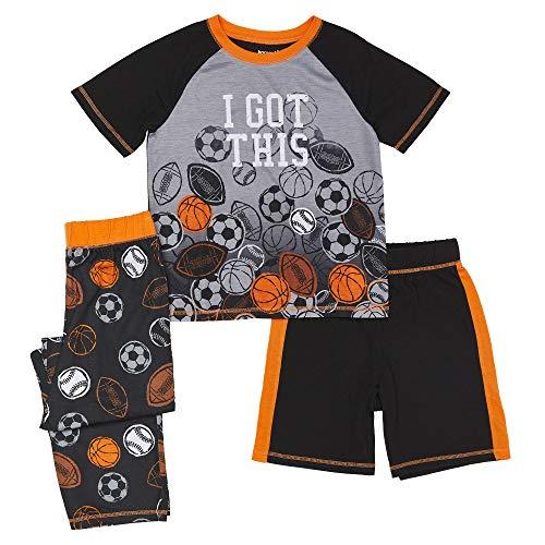 Komar Kids Boys' Big 3 Piece Jersey Pajama Set, Sports, Medium