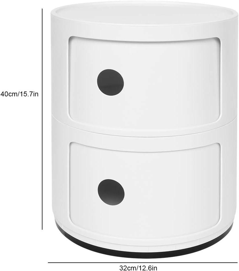 Zoternen Comodino Rotonda Mobile Bagno girgio in ABS Bagno per Adatto a Camera da Letto Cassettiera Componibili a 3 Strati 58 * 32 * 32cm Soggiorno