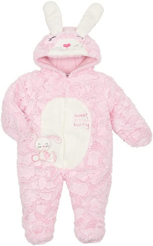Infant Girls Plush Pink Sweet Snow Bunny Snowsuit Baby Pram Snow Suit