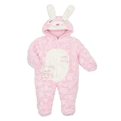 ceffd4535 Amazon.com  Infant Girls Plush Pink Sweet Snow Bunny Snowsuit Baby ...