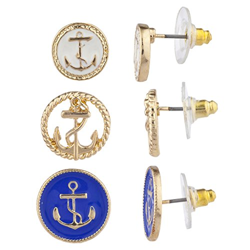 Lux Accessories Gold Tone Blue White Nautical Anchor Multi Earring Set 3 -