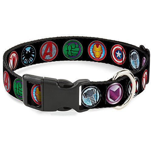 Buckle-Down Dog Collar Plastic Clip Buckle - 9-Avenger Icons Black/Multi Color - 1