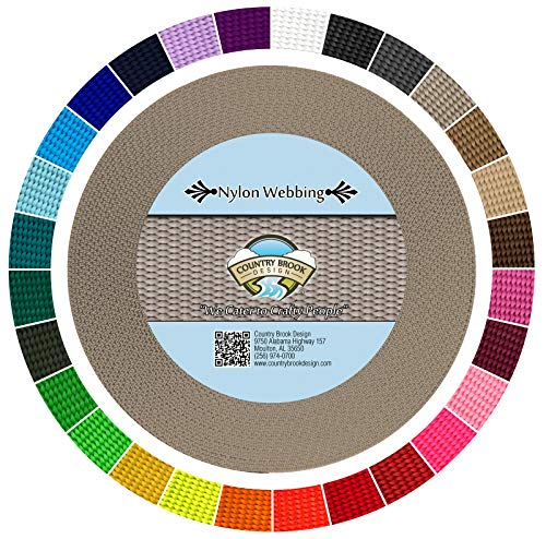 Country Brook Design | Durable 1 Inch Heavy Nylon Webbing | 29 Vibrant Colors (Silver, 50 ()