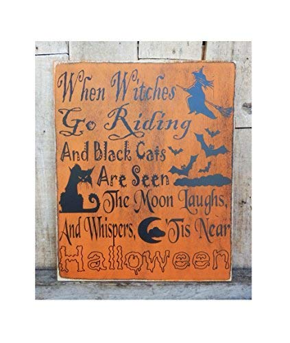 When Witches Go Riding 10 X 12 Halloween Sign Fall Decoration Witch Halloween Party Witches Black Cats are Seen Moon Sayings Home Decor Wall Art Plaque Sign Presents -