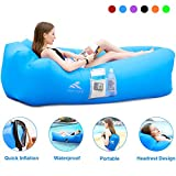 FRETREE Inflatable Lounger Air Sofa Hammock - Portable Anti-Air Leaking & Waterproof Pouch Couch and Beach Chair Camping Accessories for Parties, Travel, Camping, Picnics, Pool-Blue
