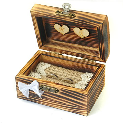 (LOVEhandmade Personalized Wedding Ring Box, Rustic Ring Bearer, Wooden Ring Holder with Hearts, Personalized)