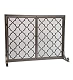 Large Steel Geometric Fireplace Screen with Doors, Durable Frame and Metal Mesh, 44 W x 33 H,Bronze