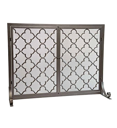Large Steel Geometric Fireplace Screen with Doors, Durable Frame and Metal Mesh, 44 W x 33 (Flat Fireplace Guard)
