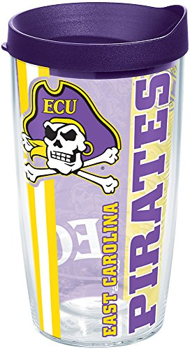 Tervis 1219942 East Carolina Pirates College Pride Tumbler with Wrap and Royal Purple Lid 16oz, Clear