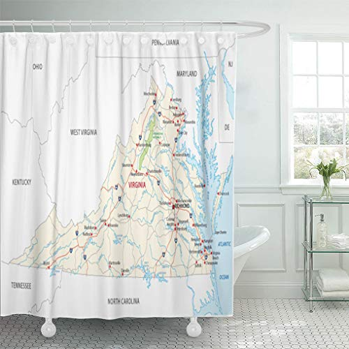 Emvency Shower Curtain 72 x 72 inches Maryland Virginia Road Map North State Carolina Pennsylvania Ohio Tennessee Set with Hooks Decorative Waterproof Polyester Fabric Bathroom Shower Curtains