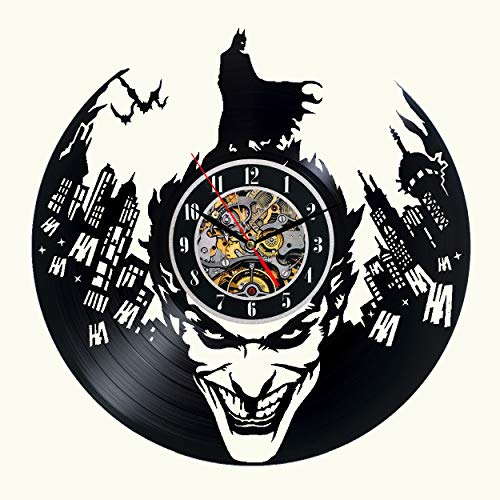 (Hot Vinyl Record Wall Clock Batman Theme-Unique CD Art Home Decor Creative Modern Interior Design Decoration Silent 12