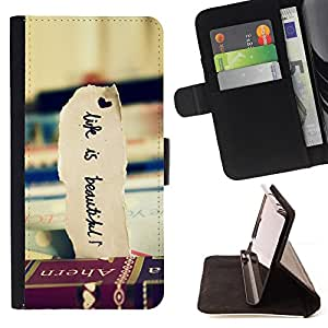 DEVIL CASE - FOR Samsung Galaxy S4 Mini i9190 - Books Travel Beautiful Life Vignette - Style PU Leather Case Wallet Flip Stand Flap Closure Cover