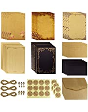 Dxhycc Vintage Stationary Paper and Envelopes Set, Aged Paper Writing Paper Stationery Set, 28 Sheets of Vintage Letter Papers, 14 Envelopes, 6 Hemp Ropes, 6 Retro Keys, 18 Sealing Stickers