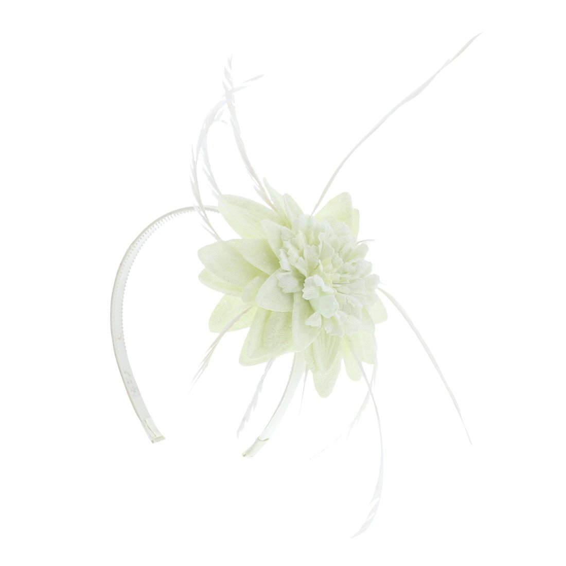 Fascinator Hat for Women Feather Cocktail Headband (Ivory)