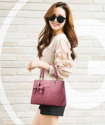 Women Embroidery Pink Rose Tote Handbag PU Mogor Shoulder Leather with Bag dz4Fdwq