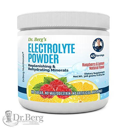 Dr. Berg's Electrolyte Powder, High Energy, Replenish & Rejuvenate Your Cells, 45 Servings, NO Maltodextrin or Sugar, Amazing Raspberry Lemon Flavor (Solo Pack) by Dr. Berg Nutritional
