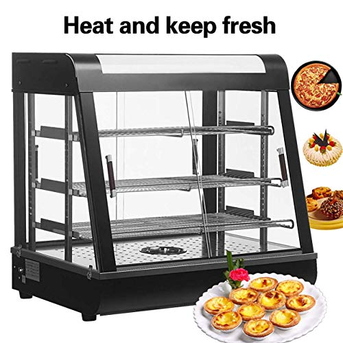 Nurxiovo 27'' Food Warmer Countertop Display Cases Commercial Heated Bakery Stainless Steel Hot Pastry Restaurant self service Heated Cabinet Pizza Empanda Patty w/ 3 Shelves