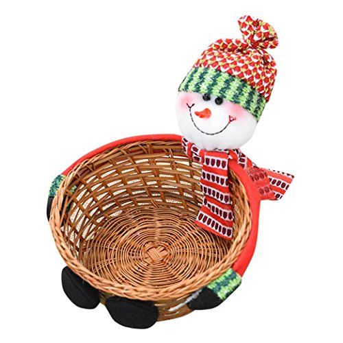 Christmas Candy Storage Basket Gifts, Staron Cute Santa Claus Candy Cookies Storage Stand Bamboo Basket, 13x6cm (Snowman)