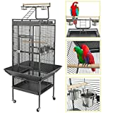 YOUKE Large Bird Cage with Play Top & Rolling Stand - Parrot Chinchilla