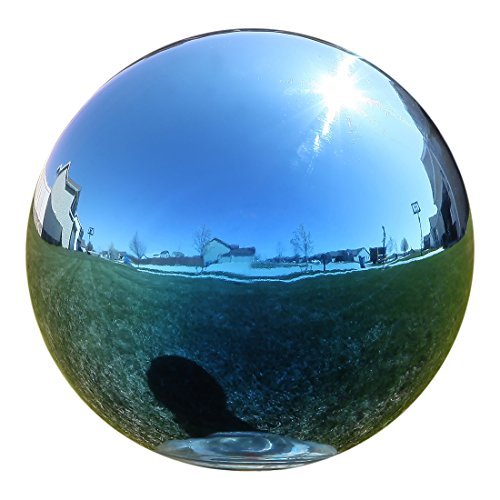 Lily's Home Gazing Globe Mirror Ball in Blue Stainless Steel. (12 Inch) (Rainbow Gazing Ball)