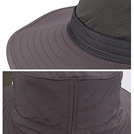 2cd94013af544 Surblue Wide Brim Cowboy Hat Collapsible Hats Fishing Golf Hat Sun Block  UPF50+ at Amazon Men s Clothing store