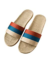 XioNiu Men Indoor Fashion Retro Striped Linen Summer Slippers Slides