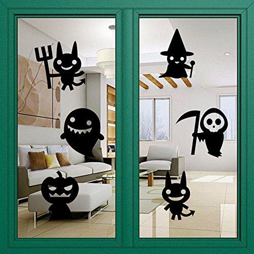 Halloween Cute Witch Pumpkin Wall Stickers, Oksale® 23.2 × 16.5 Inch, Window Decorative Glass Door Home Living Room Crafts Applique Papers Mural Decoration Decor (Halloween Pumpkin Dance Vine)