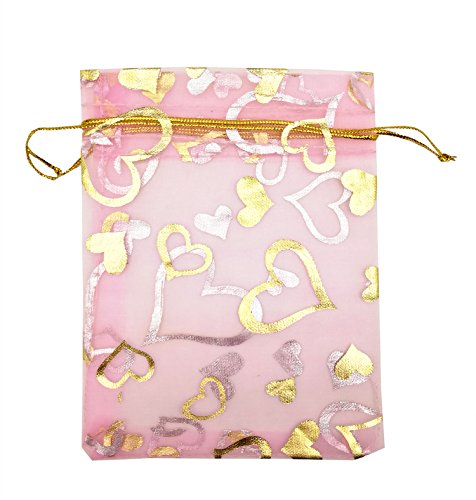 SUNGULF 100pcs Organza Pouch Bag Drawstring 4x5 Inch Strong Gift Candy Bags Jewelry Party Wedding Favor (Pink Heart)