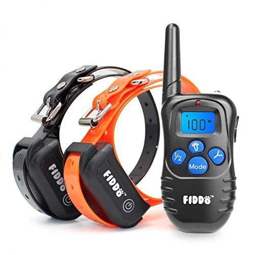 Fiddo Electric 2 Dog Collar 330 Yards Remote Dog Training E-collar with Beep/Vibration/Shock Electric by Fiddo