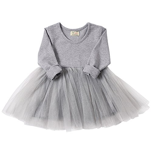 (Peony Baby Infant Toddler Baby Girls Tutu Dress Long Sleeves Ruffle Gauze (18-24m, Gray))