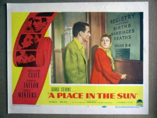 EX37 Place In The Sun MONTGOMERY CLIFT Lobby Card. This is an original lobby card; not a dvd or video. Lobby cards were used to advertise film playing at theater and they measure 11 by 14 inches. (Montgomery Clift A Place In The Sun)