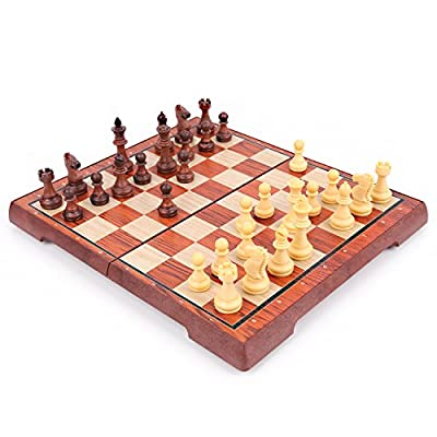 Wooden Chess Set: Universal Standard Wooden Chess Board Game Set - Handcrafted Wood Game Pieces, Pawns - Perfect Beginner Chess Set for Kids